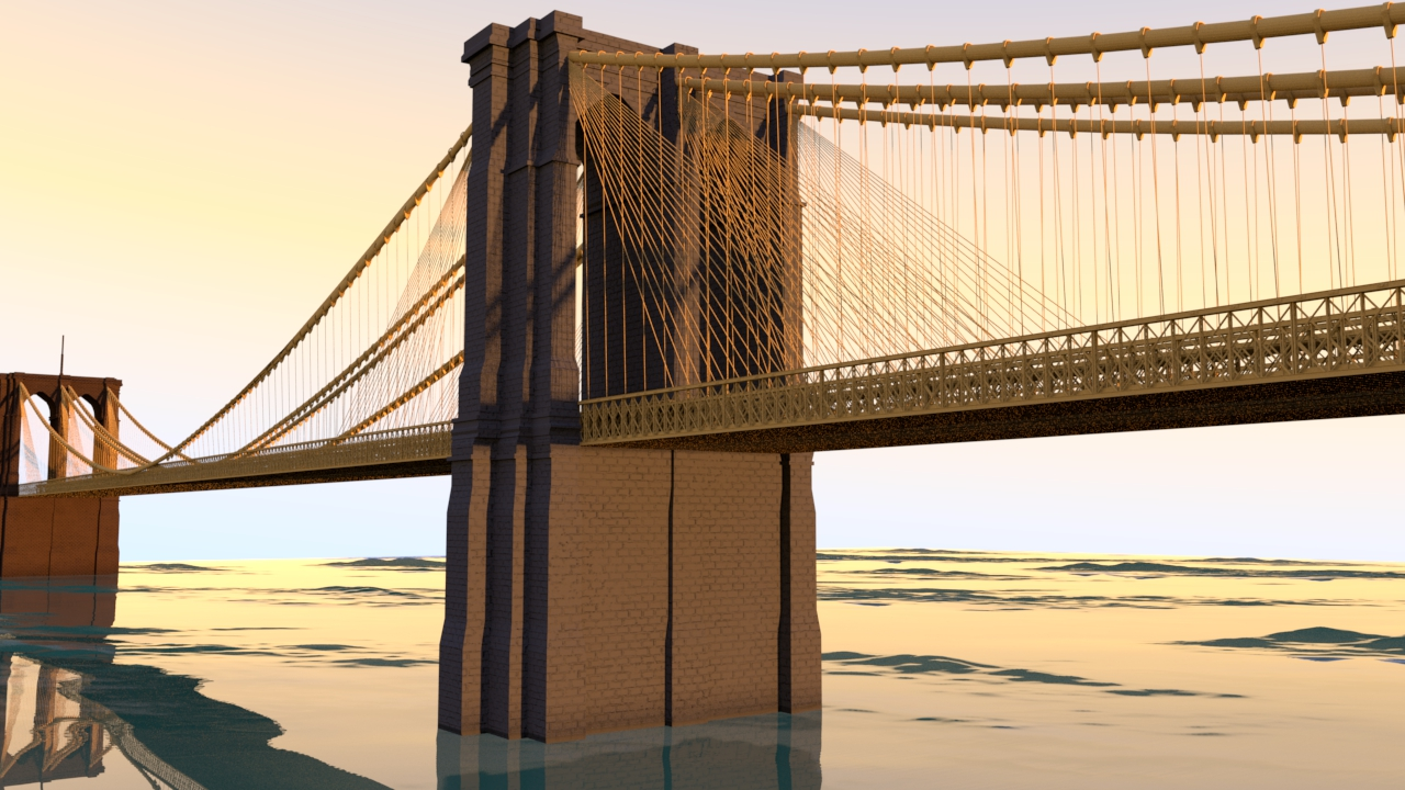 This rendering won second place in Mike Herme's 3D modelling competition. Shortly afterwards, I decided to make a VR experience of the Brooklyn Bridge in Unreal Engine. It was designed for the Oculus GO.