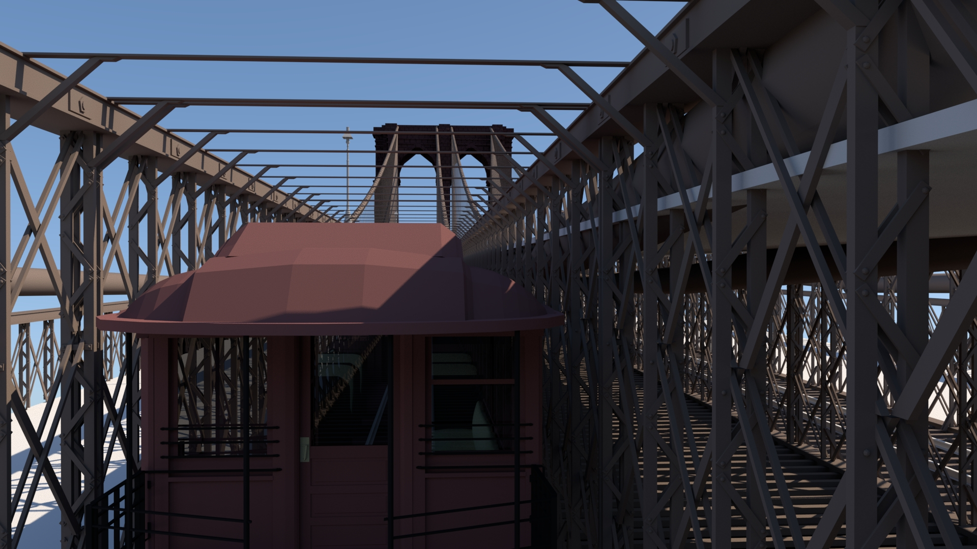 This rendering is of the BU Elevated Train model I did for Brooklyn Bridge VR. In my original plans, the player could have the option of exploring the Brooklyn Bridge either on foot or on train.
