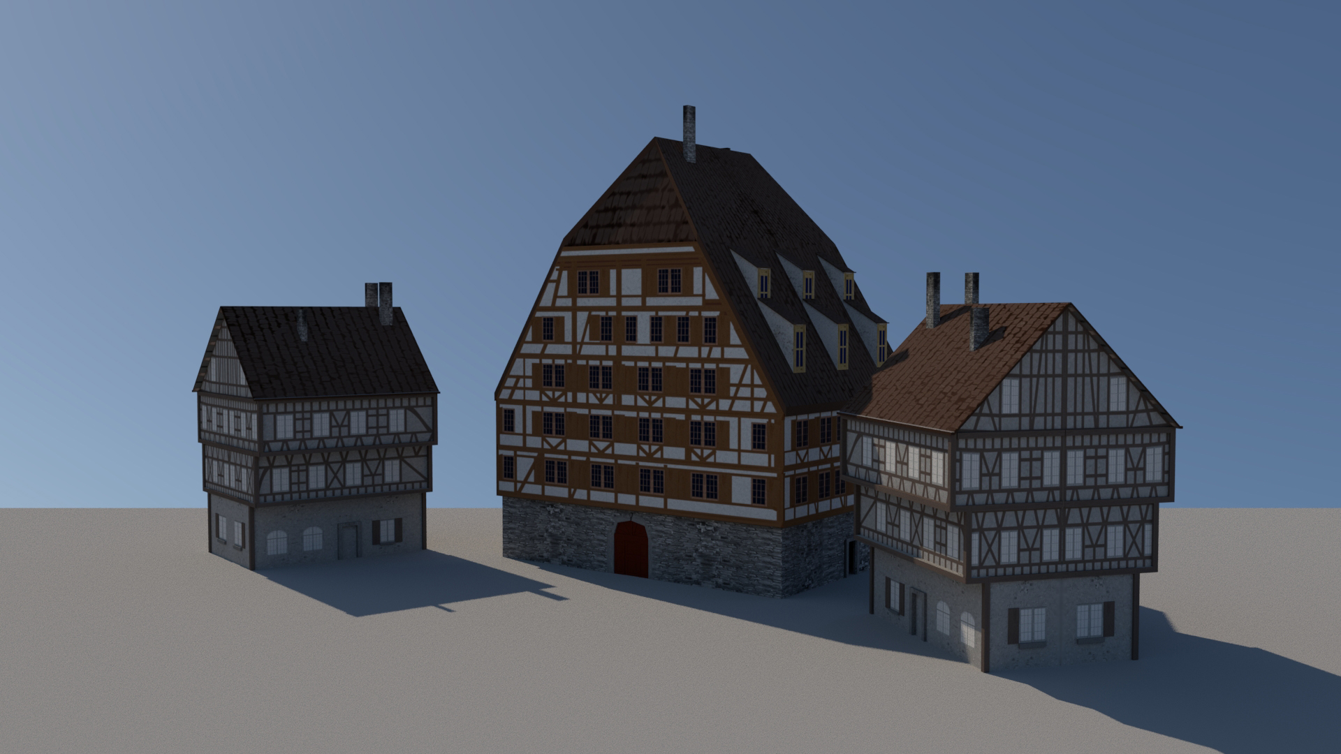 "These buildings were inspired by medieval German architecture. I made them in Autodesk Maya and did the textures in Adobe Photoshop.   For Project Dungeon Crawler, I had a special process for making textures. At first, I would create a lot of easily reusable ""texture parts."" These texture pieces were mostly hand drawn. Afterwards, I would scan them into the computer and touch them up in Photoshop.  Finally, I would import these parts into the texture I was working on. At this stage, they would be colored and further modified to fit the exact model it was going to be on.  These buildings were located in a small town that never made it into the game. Fortunately, the texture pieces came in handy when creating textures for later areas of the game."